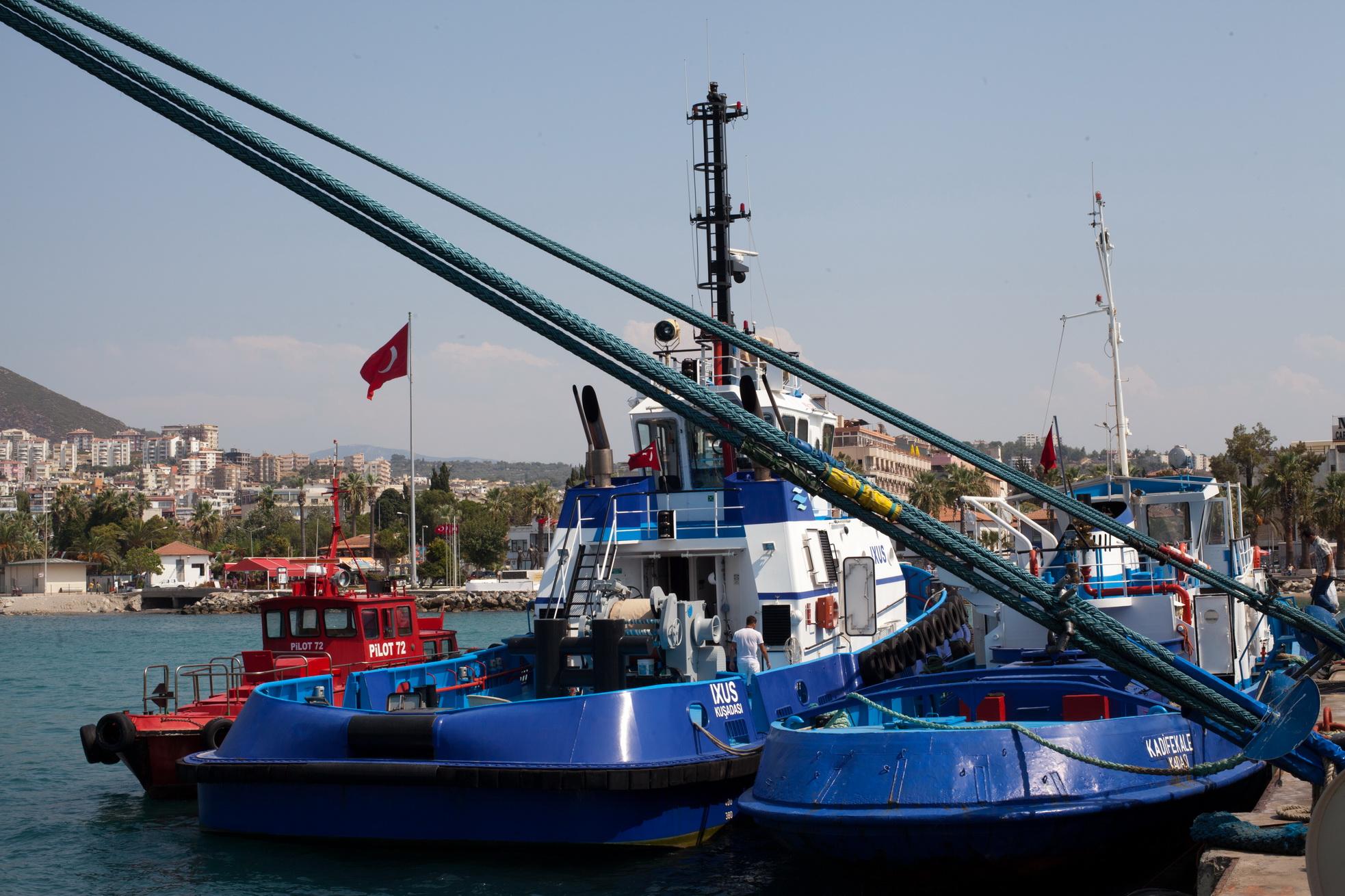Tugboat Ixus IMO 9417878 Tugboat Kadifekale IMO 7022849 Kusadasi Liman Harbor Aegean Turkey 01