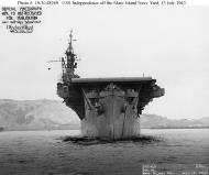 Asisbiz CVL 22 USS Independence hauling in her anchor off Mare Island Navy Yard California 13 July 1943 01
