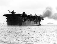Asisbiz USS Independence on fire after Operation Crossroads another senseless atomic bomb test July 1 1946