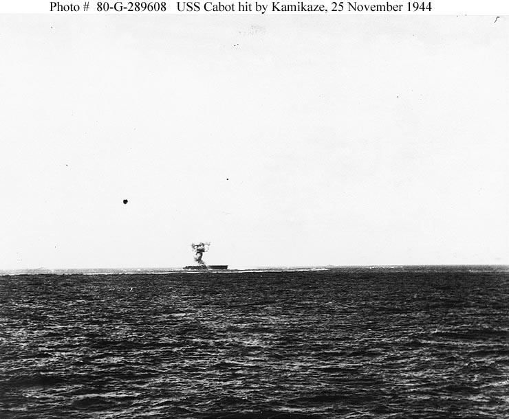 CVL 28 USS Cabot hit by Kamikaze Nov 25th 1944 01